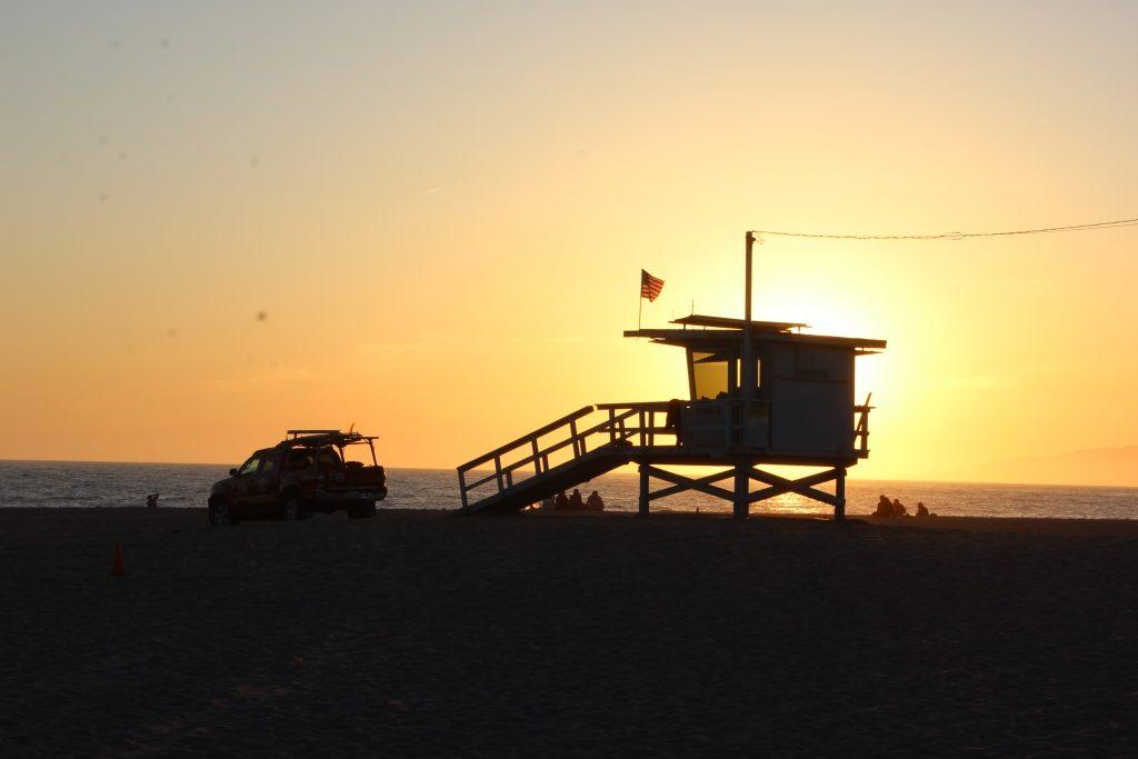 Sonnenuntergang, Venice Beach, Strand
