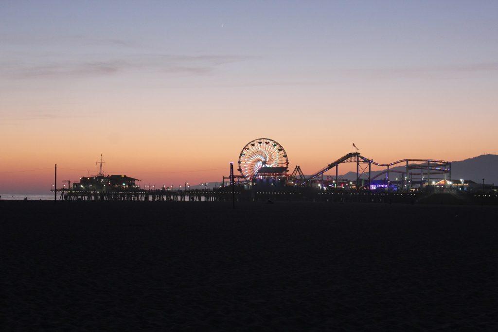 Santa Monica, Pier, Nacht, Strand, Los Angeles