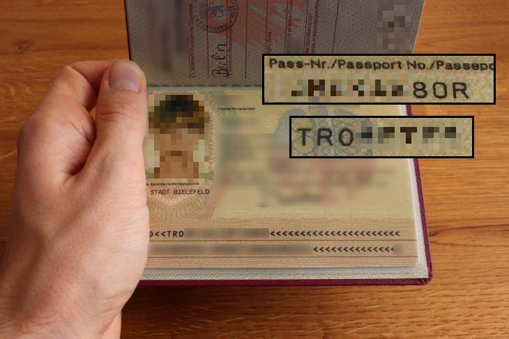 Reisepass Reisepassnummer 0 O